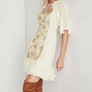 BCBGMaxazria cream metallic floral sequin dress